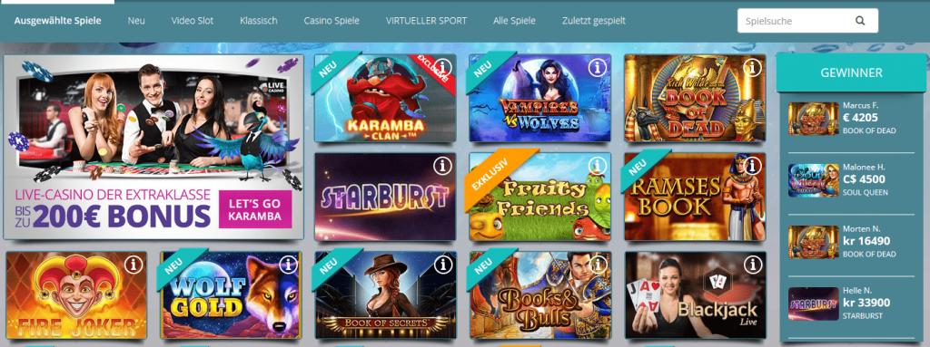 lizenzspiele auf karamba casino.