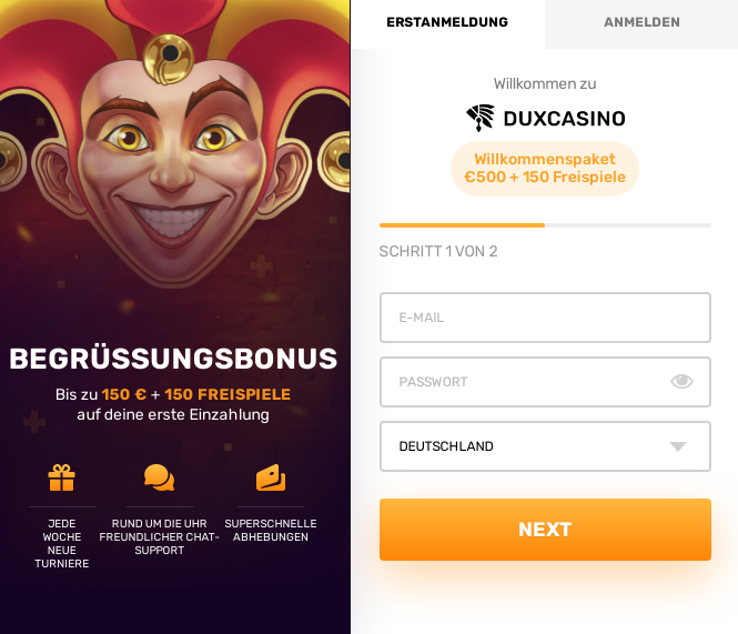 dux casino registrierung